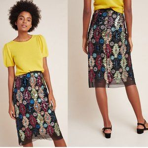 new Anthropologie Ophelia Sequined Midi Skirt